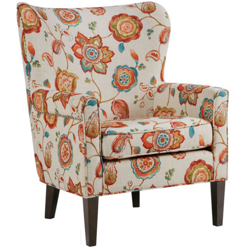 Colette Accent Chair in Cream Floral Fabric by Madison Park
