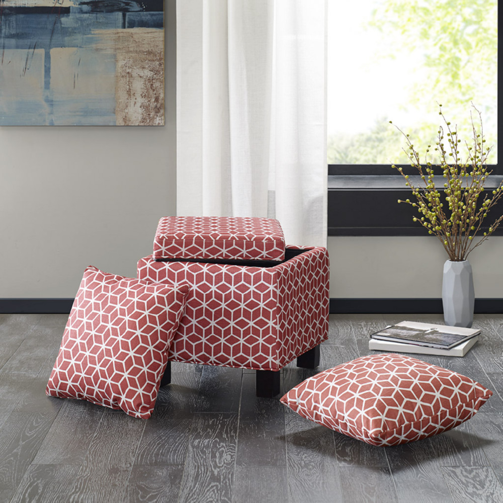 Madison Park Mp101 0501 Shelley Square Storage Ottoman W Pillows In Red Fabric On Wood Legs