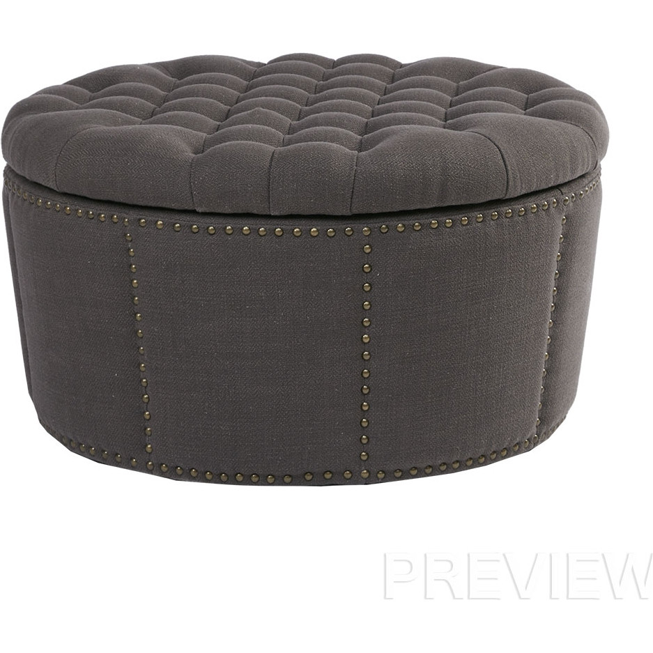 Cool Derek Round Storage Ottoman In Tufted Charcoal Fabric By Madison Park Ibusinesslaw Wood Chair Design Ideas Ibusinesslaworg