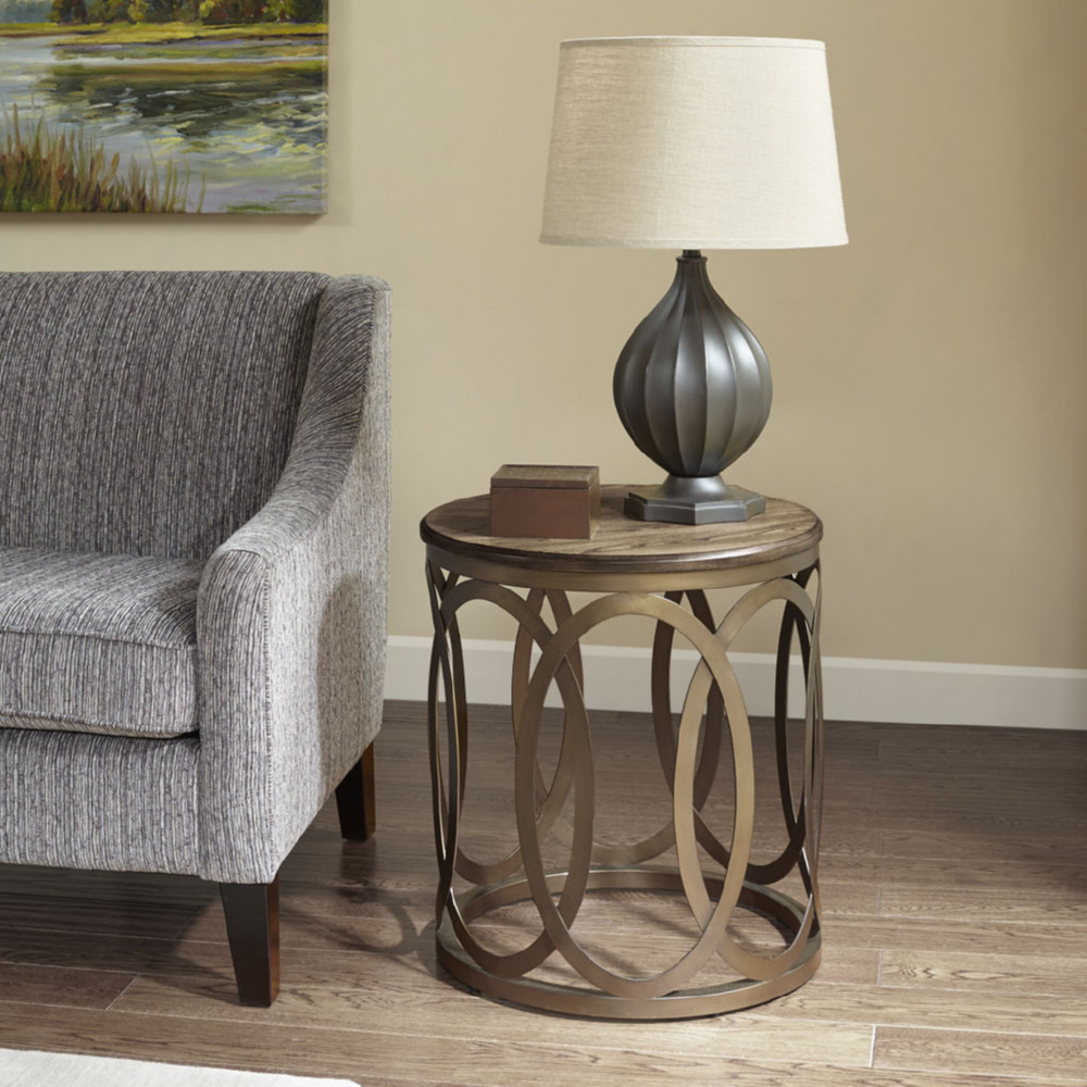 Bronze Metal Round Coffee Table: Madison Park MP120-0446 Fraser Round End Table In Brown
