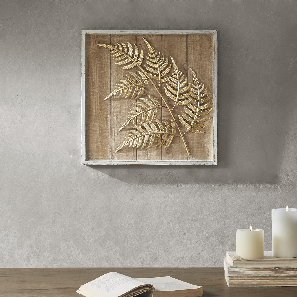 Fern Leaf Wall Art In Gold Iron On Fir Wood By Madison Park