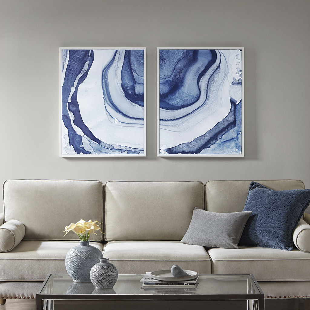 Madison Park Mp95c 0117 Ethereal Printed Framed Canvas In Blues Set Of 2