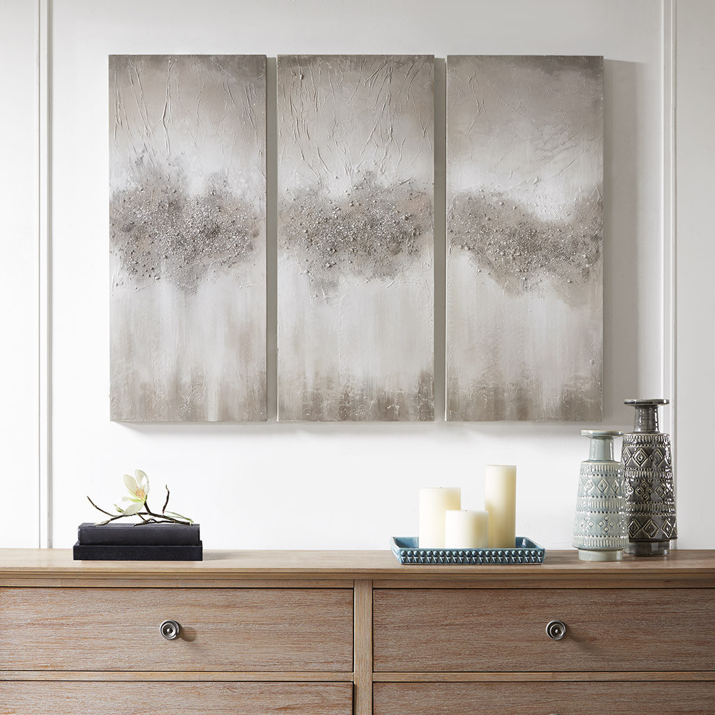 Madison Park Mp95c 0158 Taupe Luminous Hand Painted Canvas Set Of 3