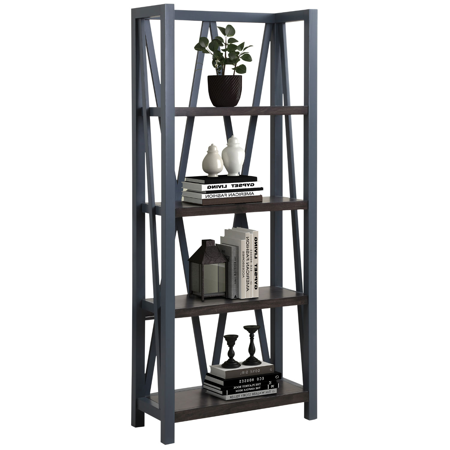 Americana Modern Etagere Bookcase In Denim Blue Wood By Parker House