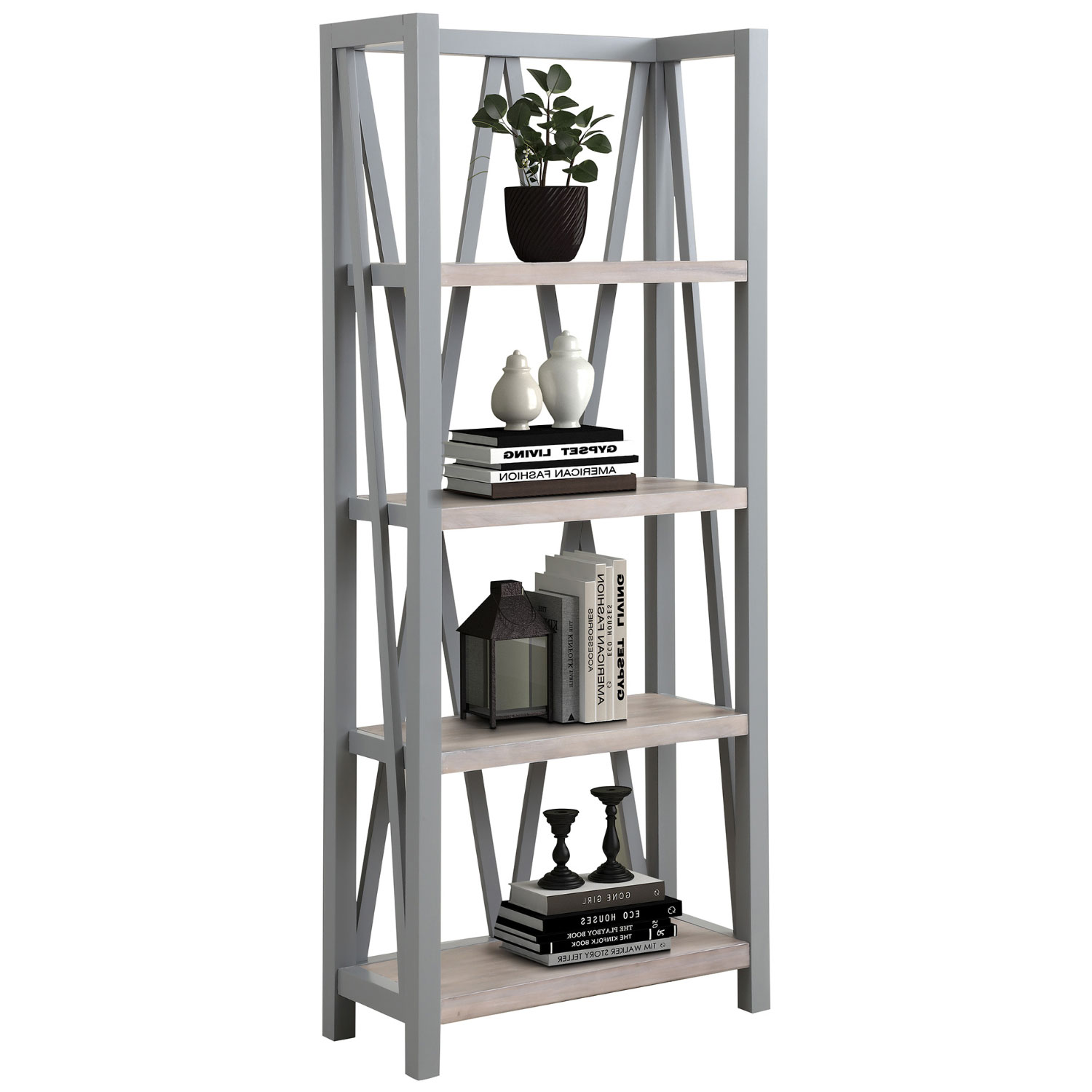 Americana Modern Etagere Bookcase In Dove Grey Wood By Parker House