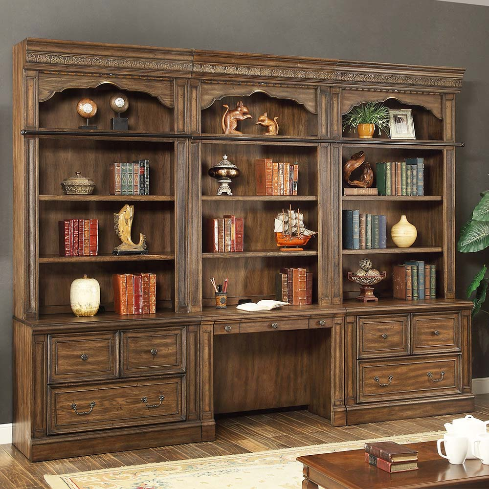 aria library 3 piece file home office wall w ladder in antique vintage smoked pecan bedroom desk unit home