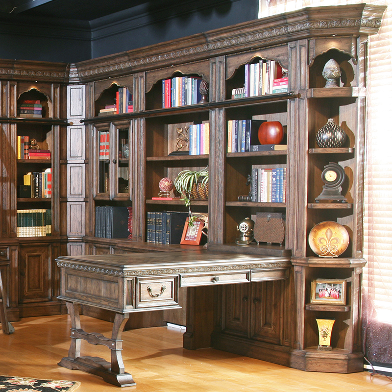 Parker House Aria Entertainment Library Wall W 2 Desks In Antique Vintage Smoked Pecan
