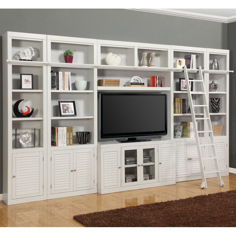 Parker House Boc 6pc Liw Boca Library Inset Entertainment Wall W Ladder 6 Piece In Cottage White