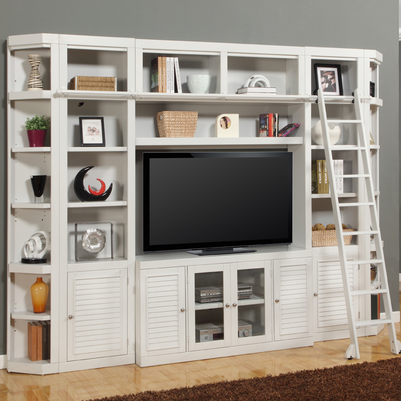 Parker House Boc 6pc Ss Boca E Saver Library Style Entertainment Wall Unit W Ladder In Cottage White