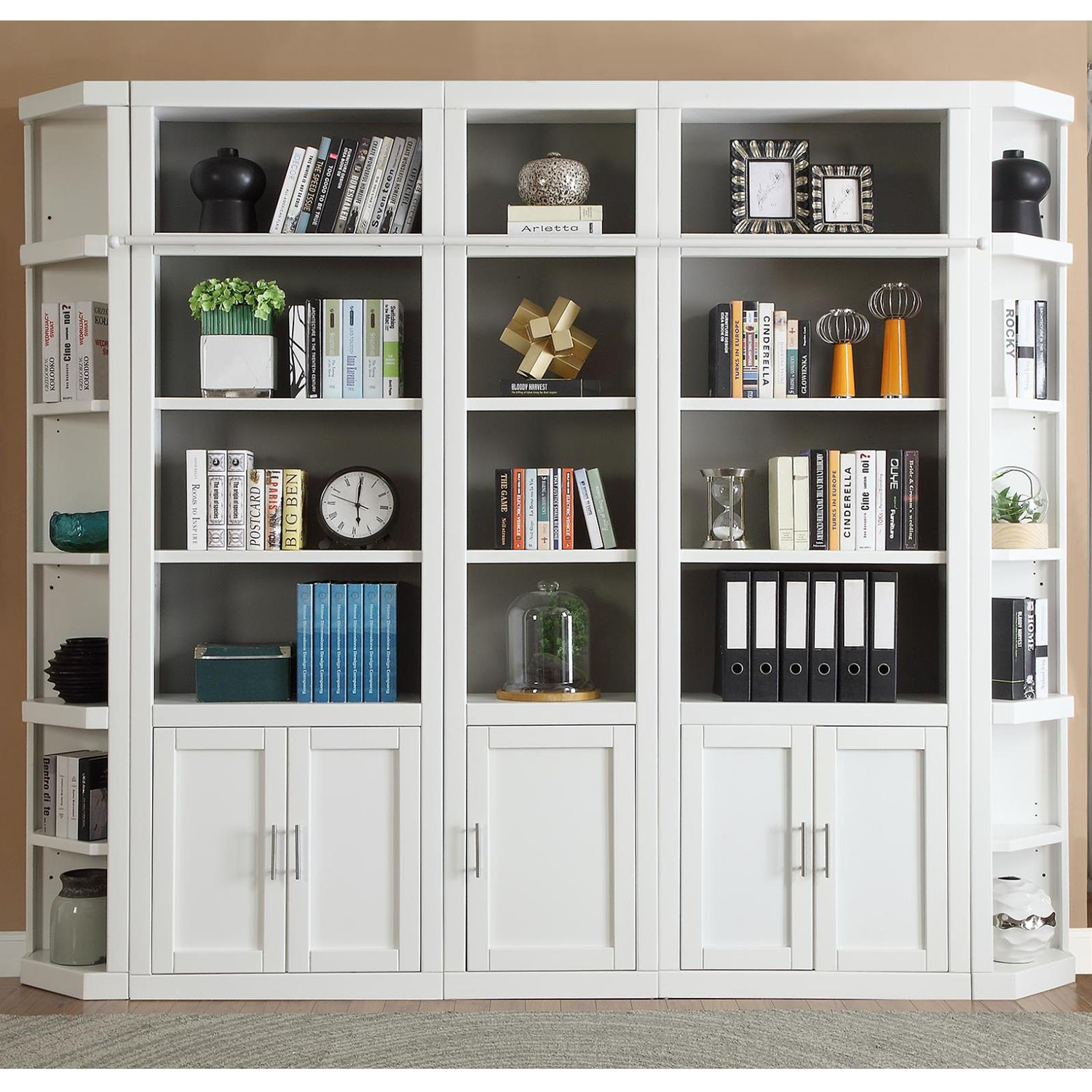 Catalina 6 Piece Large Library Bookcase Wall In Cottage White By Parker House