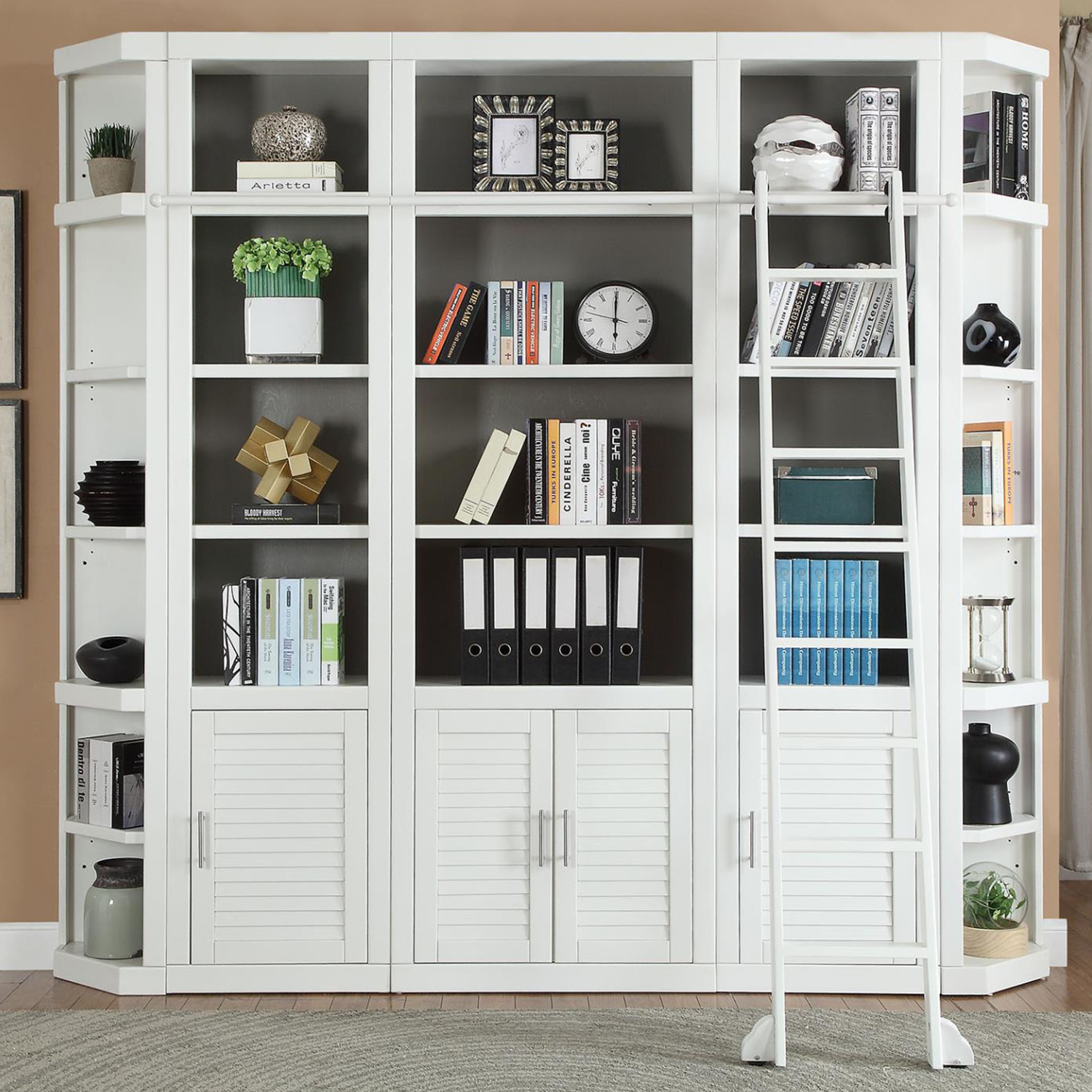 Catalina 6 Piece Library Bookcase Wall In Cottage White By Parker House