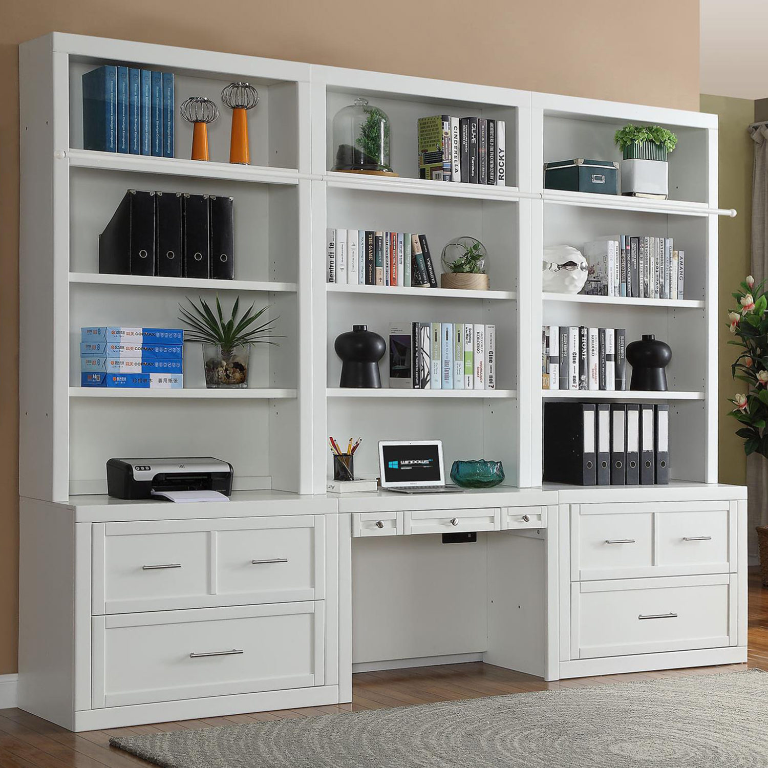 Catalina 7 Piece Desk File Cabinet Bookcase Wall In Cottage White By Parker House