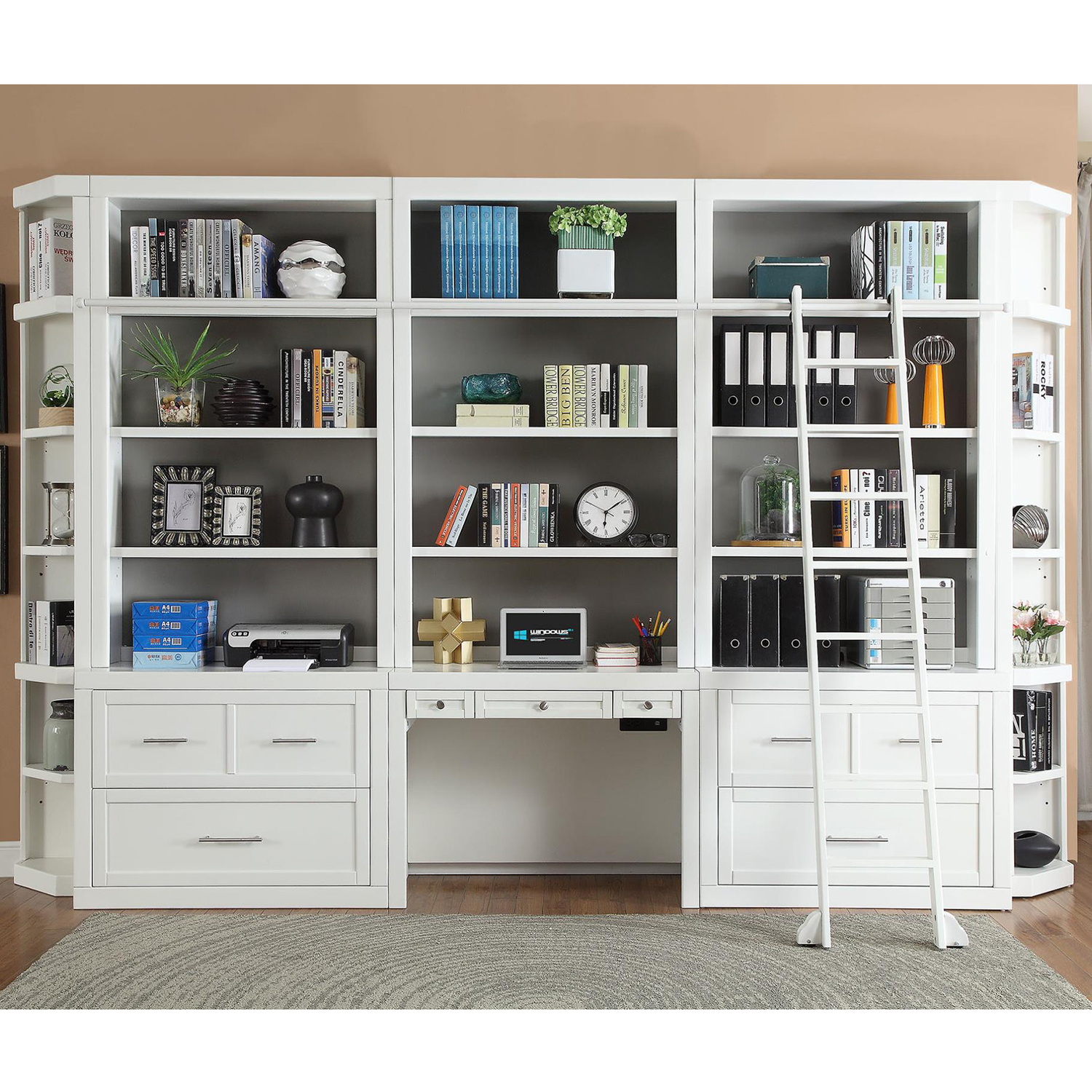 Catalina 9 Piece Desk File Bookcase Wall In Cottage White By Parker House
