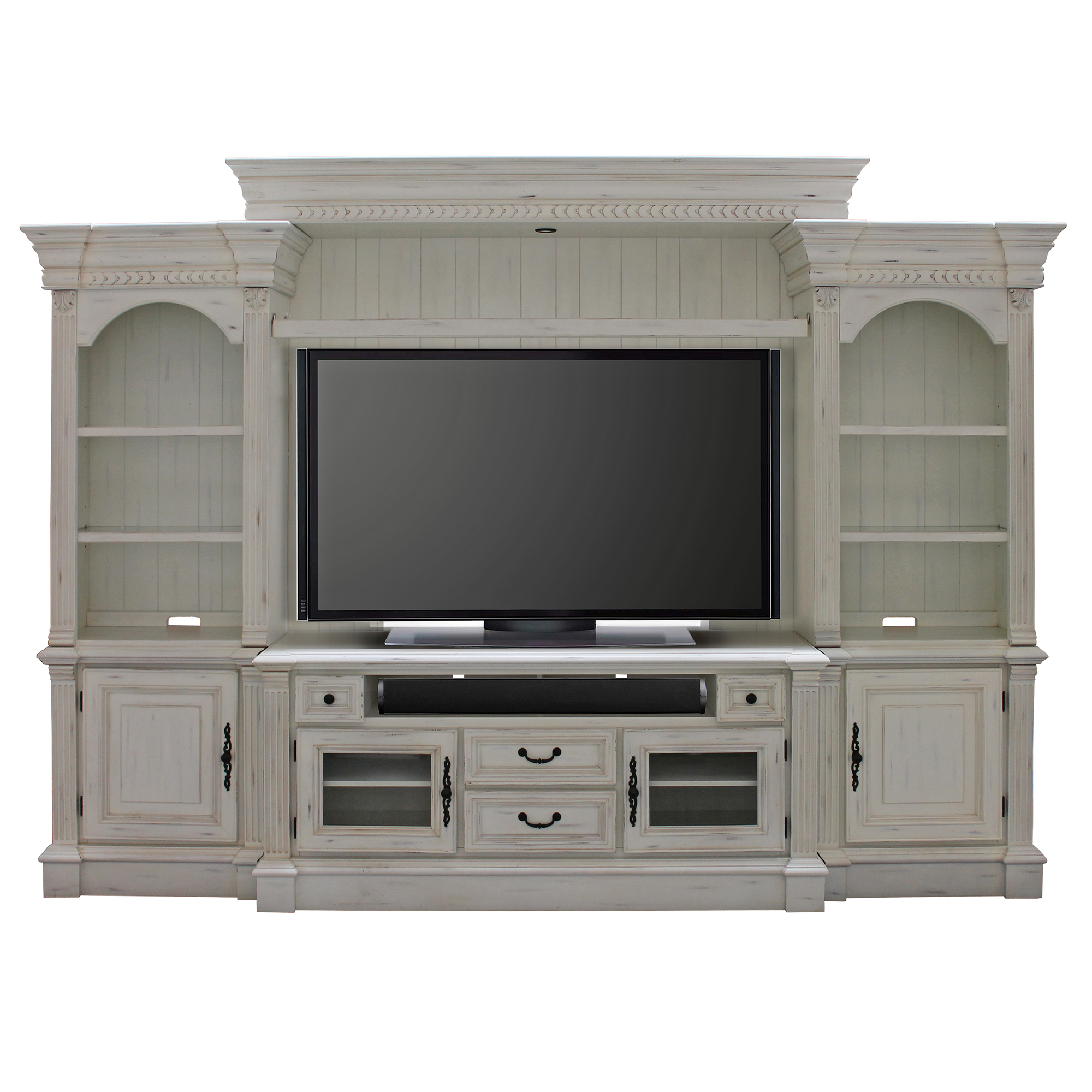 Fremont 4 Piece Entertainment Wall Unit In Vintage Burnished White Open Box