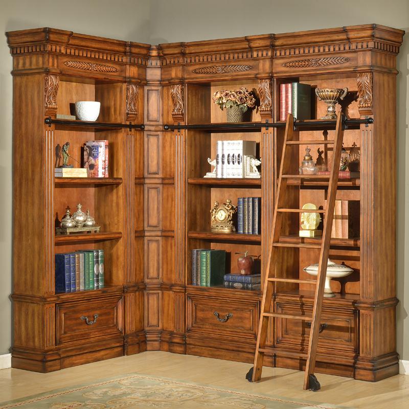 Parker House GGRA#9030-3-9056 Grand Manor Granada Museum Library Corner Bookcase 4 Piece in ...