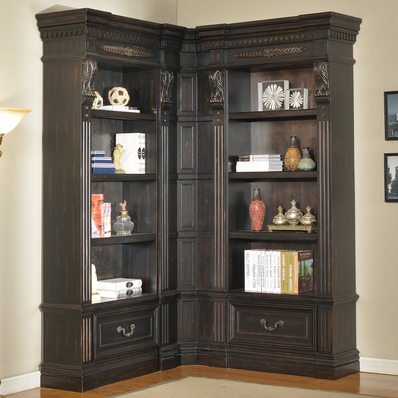 Grand Manor Palazzo Museum Library Corner Bookcase 3 Piece In Vintage Burnished Black By Parker House