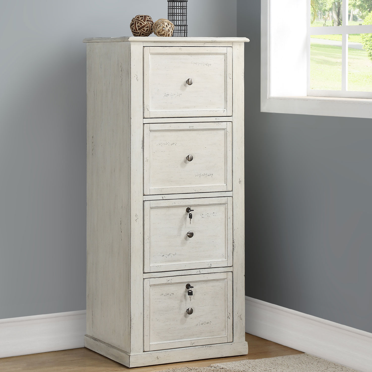 Tall File Cabinet In Antique