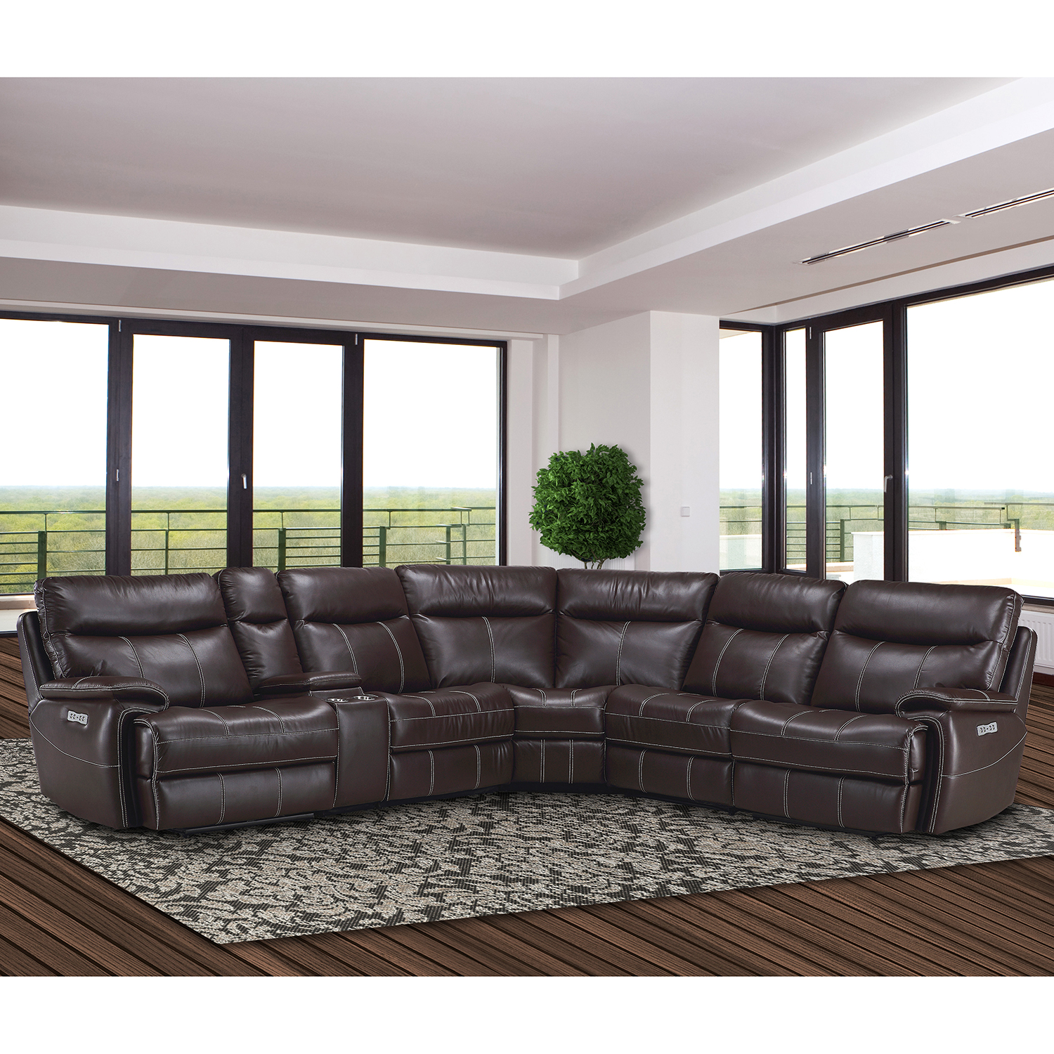 Dylan 6 Piece Sectional Sofa in Mahogany Leatherette by Parker House