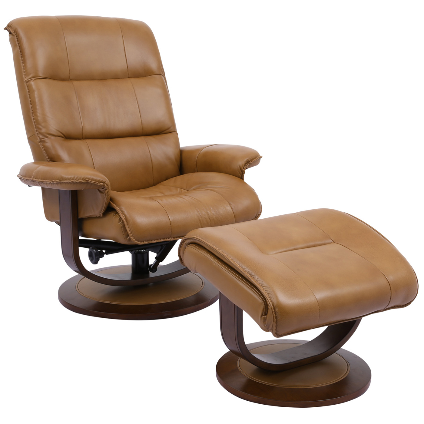 Knight Manual Reclining Swivel Chair Ottoman In Caramel Brown Top Grain Leather By Parker House