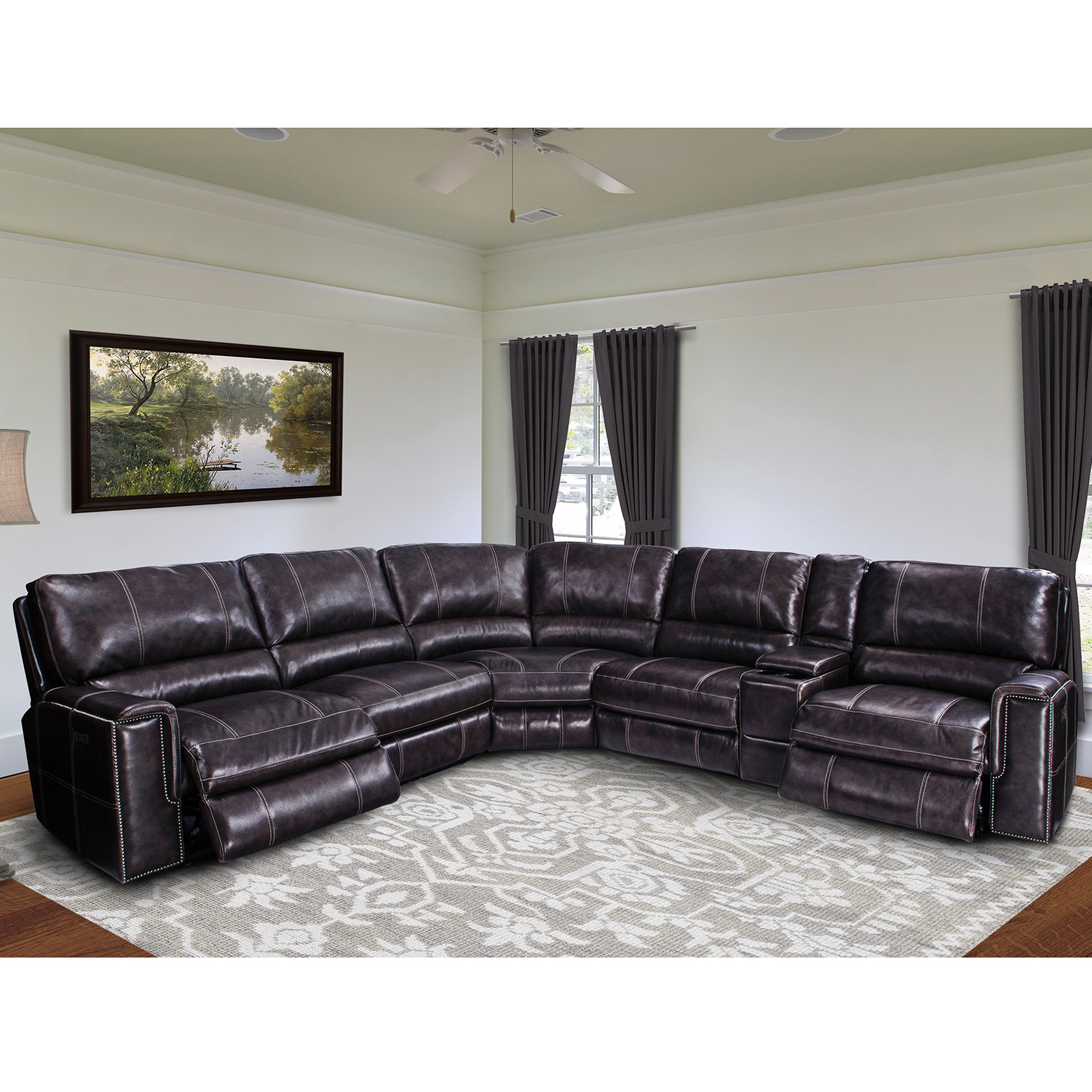 Salinger 6 Piece Sectional Sofa in Twilight Leather by Parker House