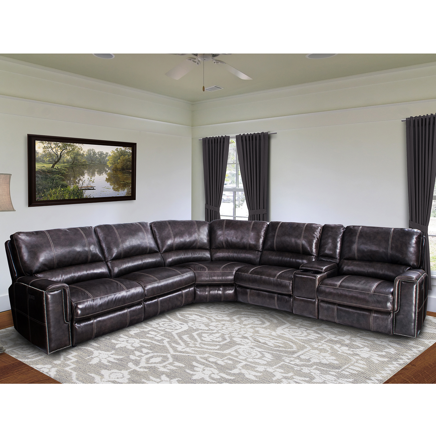 Parker House Salinger 6 Piece Sectional Sofa In Twilight Leather. Hover To  Zoom