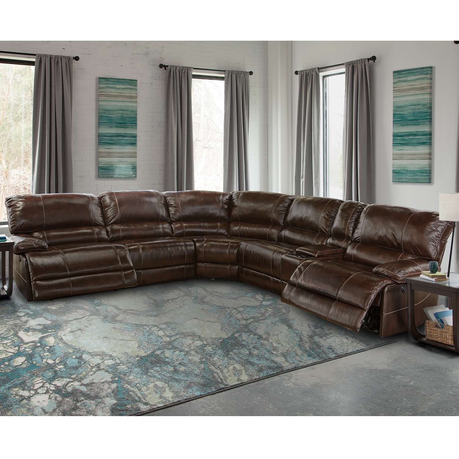 Shaw 6 Piece Sectional Sofa in Havana Leather  sc 1 st  Dynamic Home Decor : 6 piece sectional - Sectionals, Sofas & Couches