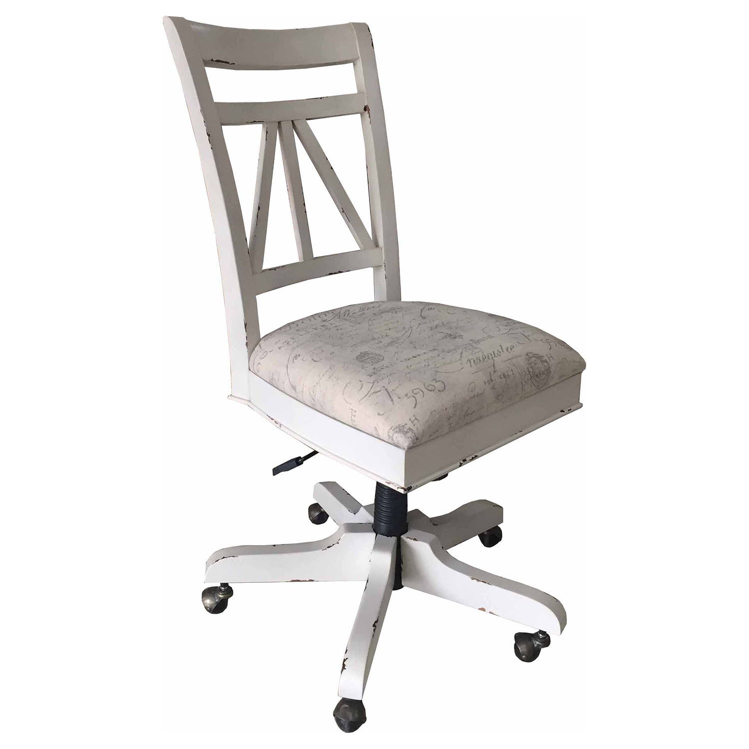 Wondrous Parker House Nantucket Armless Desk Chair In Vintage Burnished Artisanal White W Fabric Seat Gmtry Best Dining Table And Chair Ideas Images Gmtryco