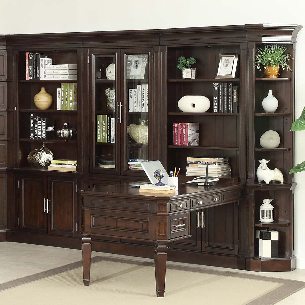 Parker House Stanford Library 11 Piece Peninsula Desk Entertainment Wall  Unit In Light Vintage Sherry
