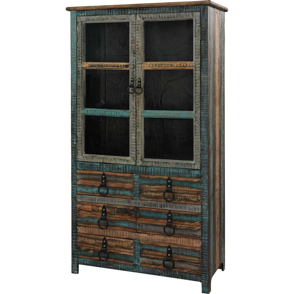 Powell 114 861 calypso high cabinet w glass doors in for Wood doors on painted cabinets