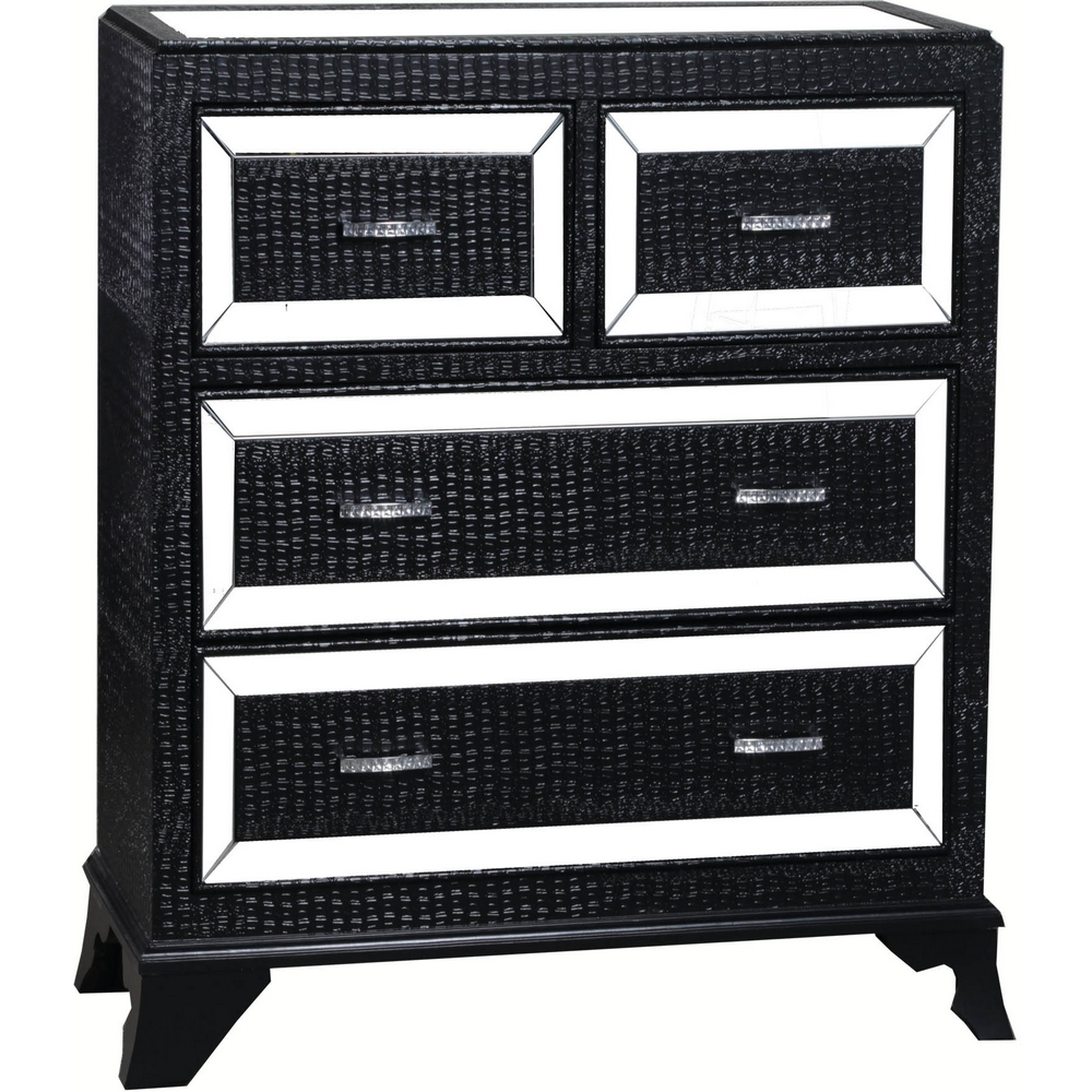 Powell 14a2019cob Glamour 4 Drawer Chest In Gloss Black