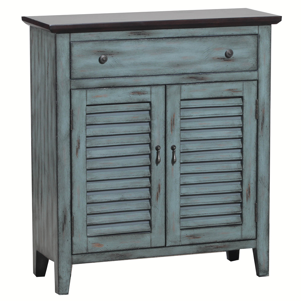 Powell 14a2046 Two Tone Shutter Door Cabinet In Distressed Blue Brown