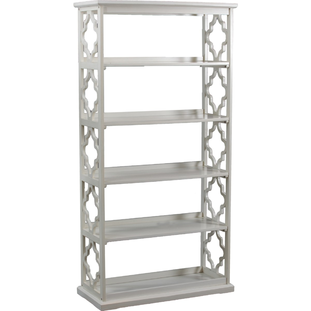 Powell 14a8082bcw Turner Bookcase In White W 5 Shelves Decorative Sides