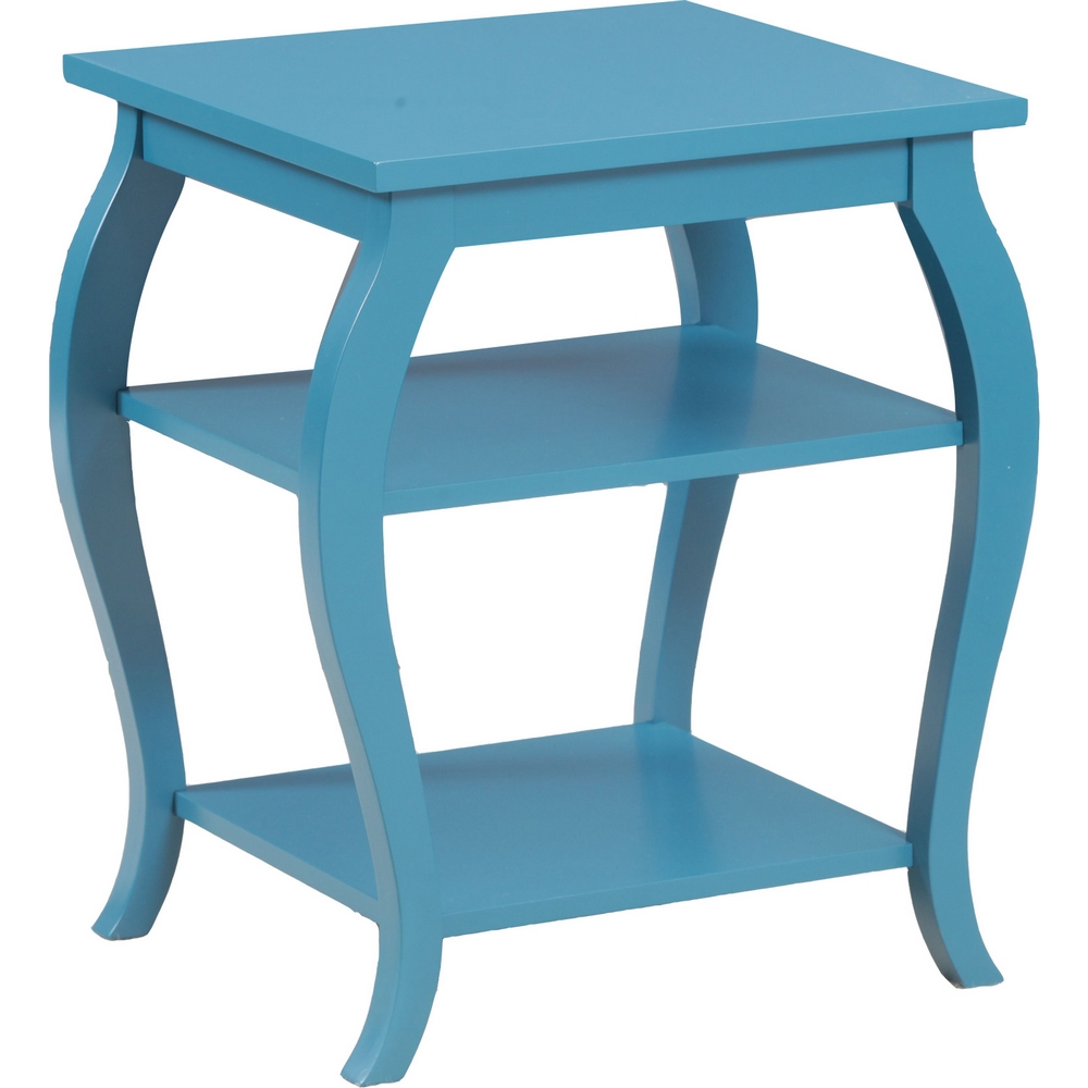 Panorama Teal Side Table W 2 Shelves By Powell