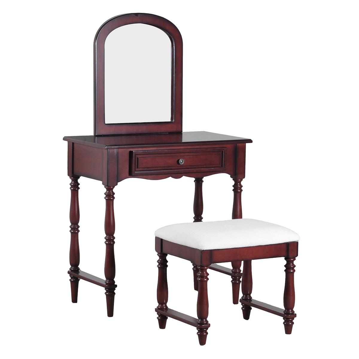 Magnificent Chadwick Vanity W Stool In Rich Cherry Finish Neutral Fabric By Powell Squirreltailoven Fun Painted Chair Ideas Images Squirreltailovenorg
