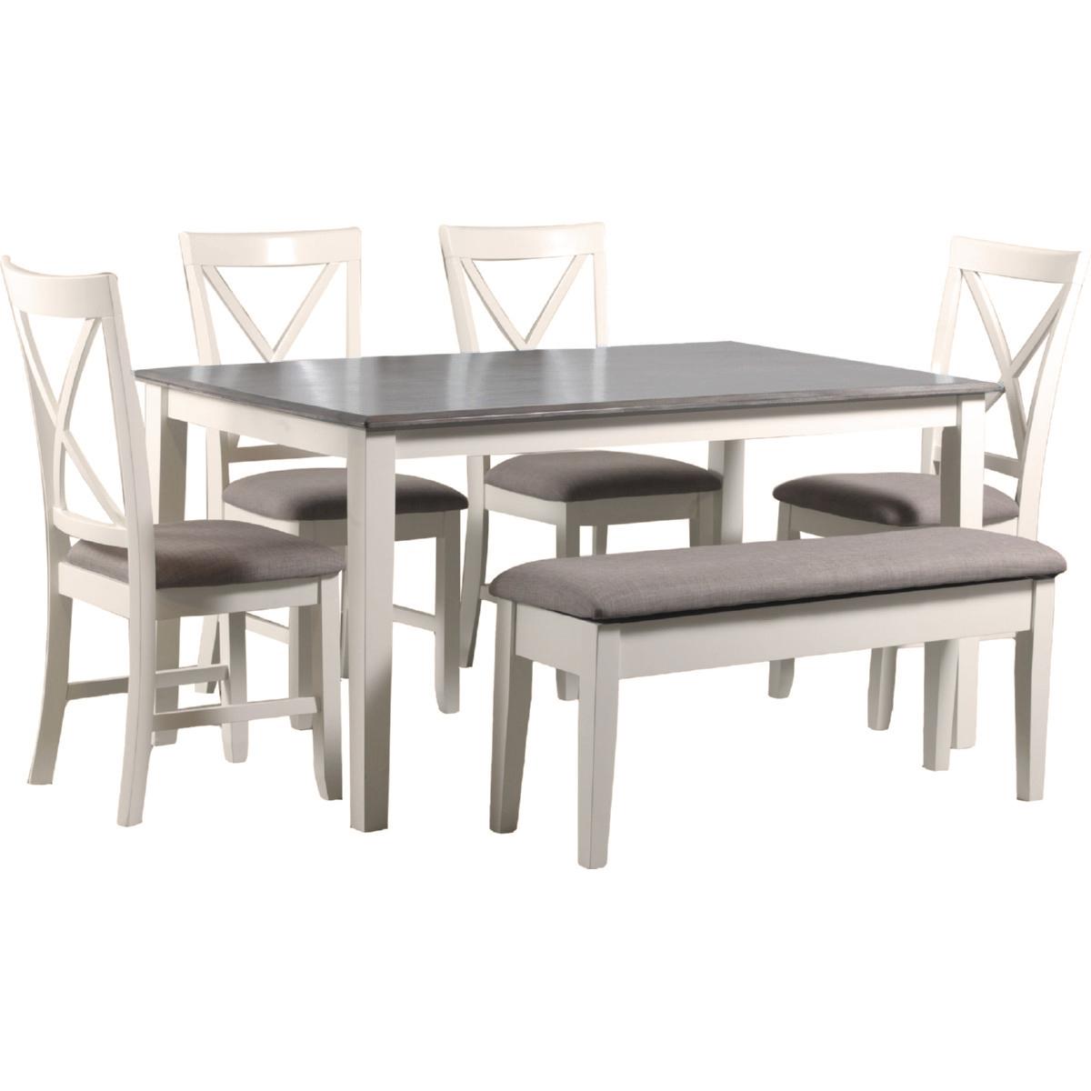 jane 6 piece dining set in white restoration finish u0026 grey fabric table bench u0026 4 chairs