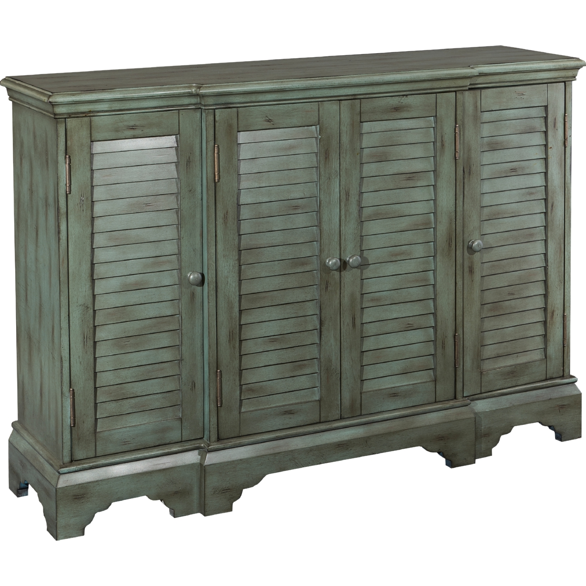 Powell Savannah Teal Shutter Console Cabinet W/ Distressed Finish