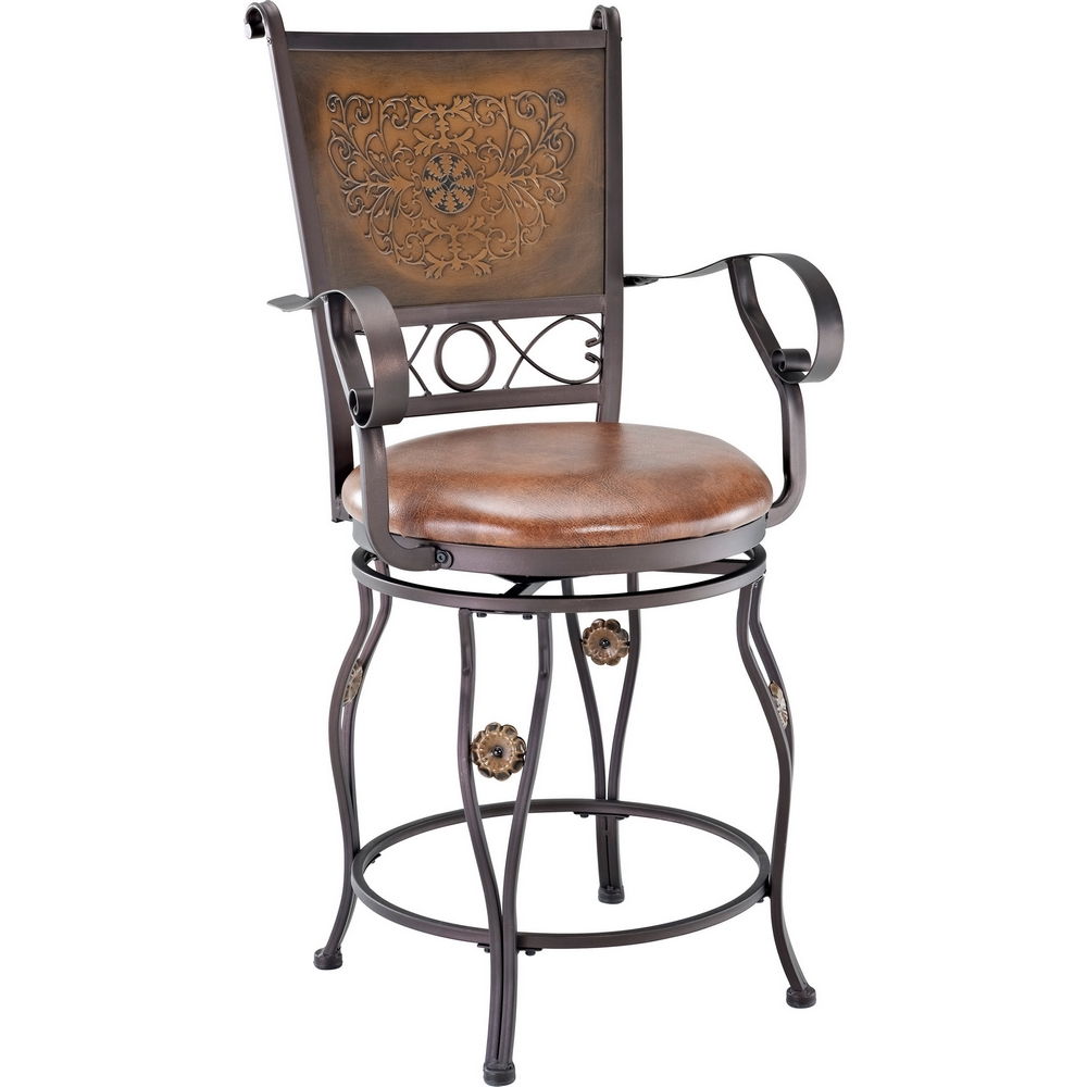Powell 222 430 Big Amp Tall Copper Stamped Back Counter Height Stool W