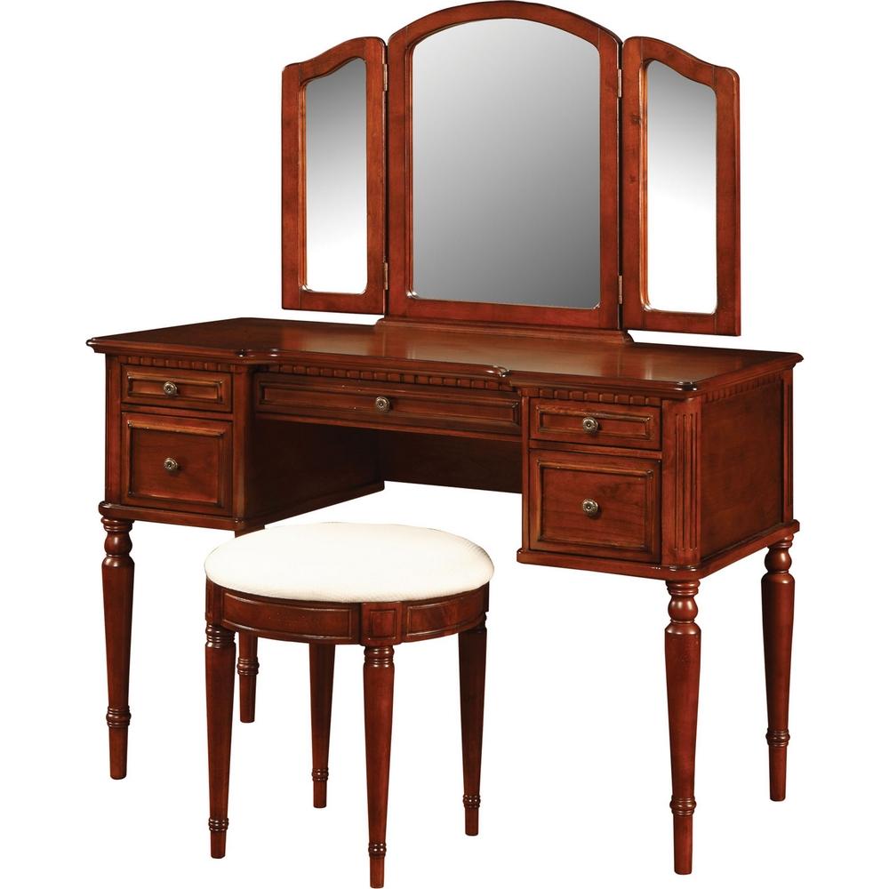Powell 429 290 Warm Cherry Vanity Amp Mirror Amp Bench