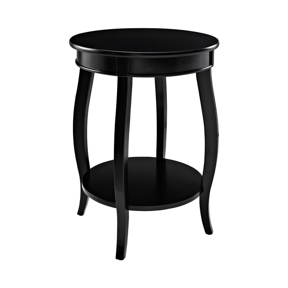 Black Round Side Table W Shelf By Powell
