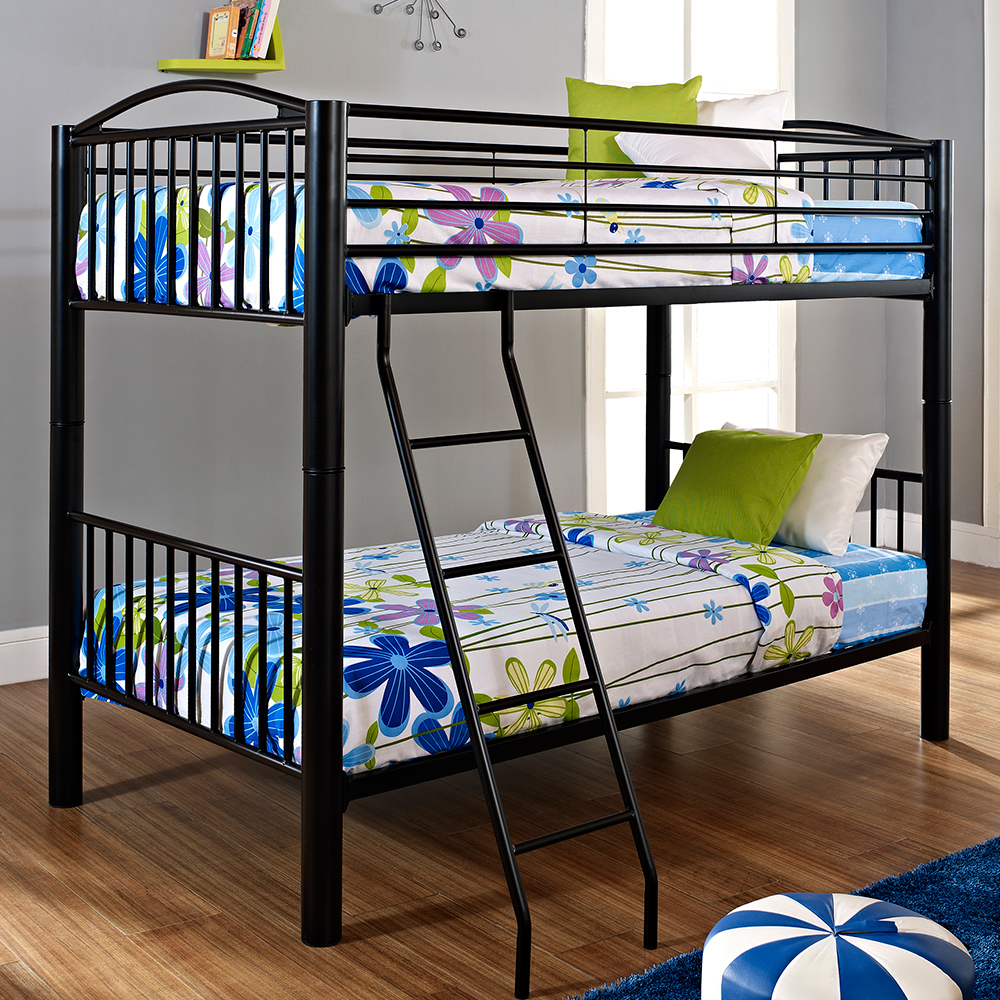 Powell White Twin Bedroom In A Box: Powell 938-138 Heavy Metal Twin Over Twin Bunk Bed In Black