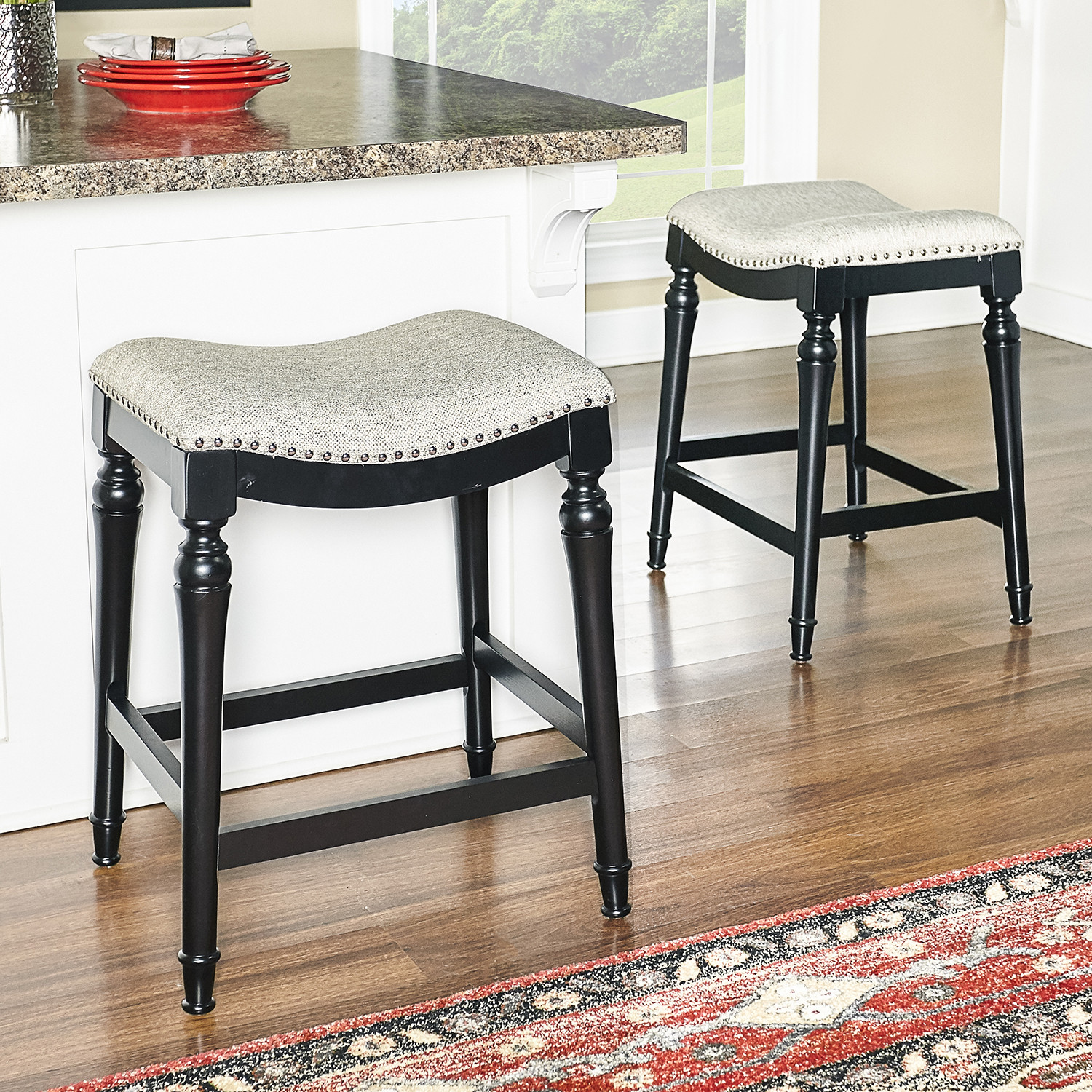 Awesome Hayes Counter Stool In Grey Fabric W Nailhead On Black Legs By Powell Uwap Interior Chair Design Uwaporg