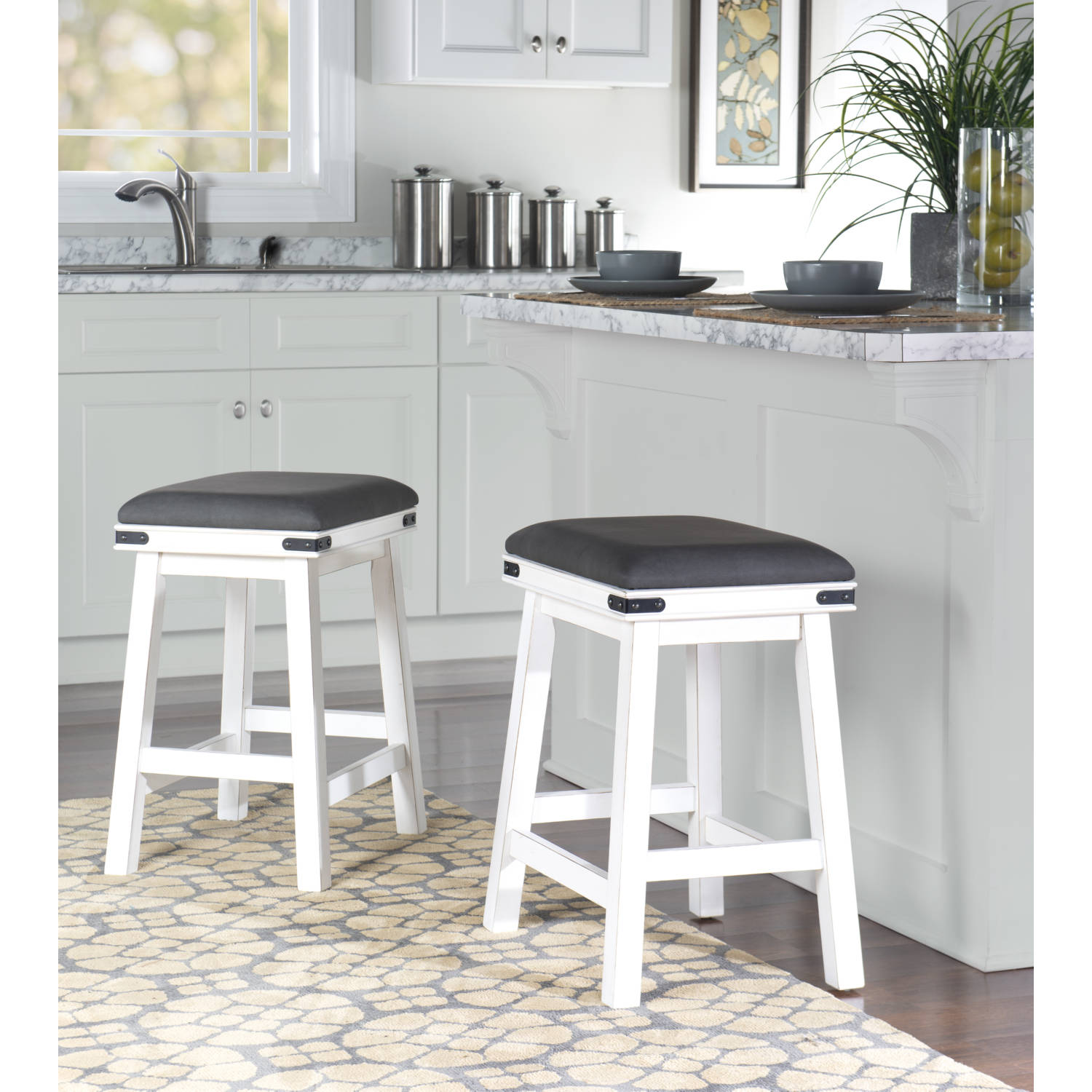Amazing Serrano Counter Stool In White Wood Grey Leatherette By Powell Ncnpc Chair Design For Home Ncnpcorg