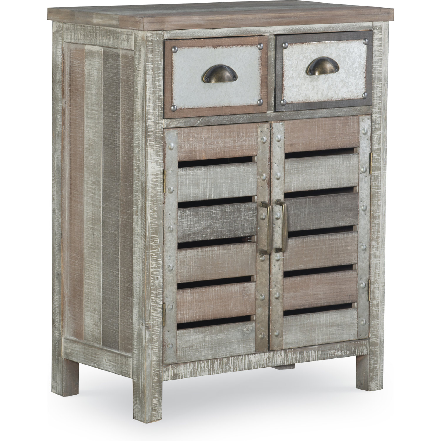 Barrett 2 Door 2 Drawer Console Table In Multicolor Plank Wood By Powell