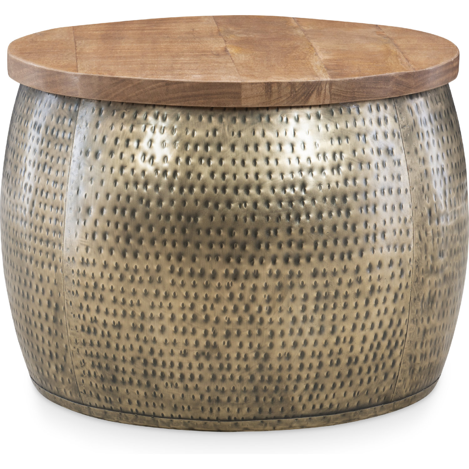 Powell D1241a19g Royce Drum Coffee Table W Storage In Gold Wood