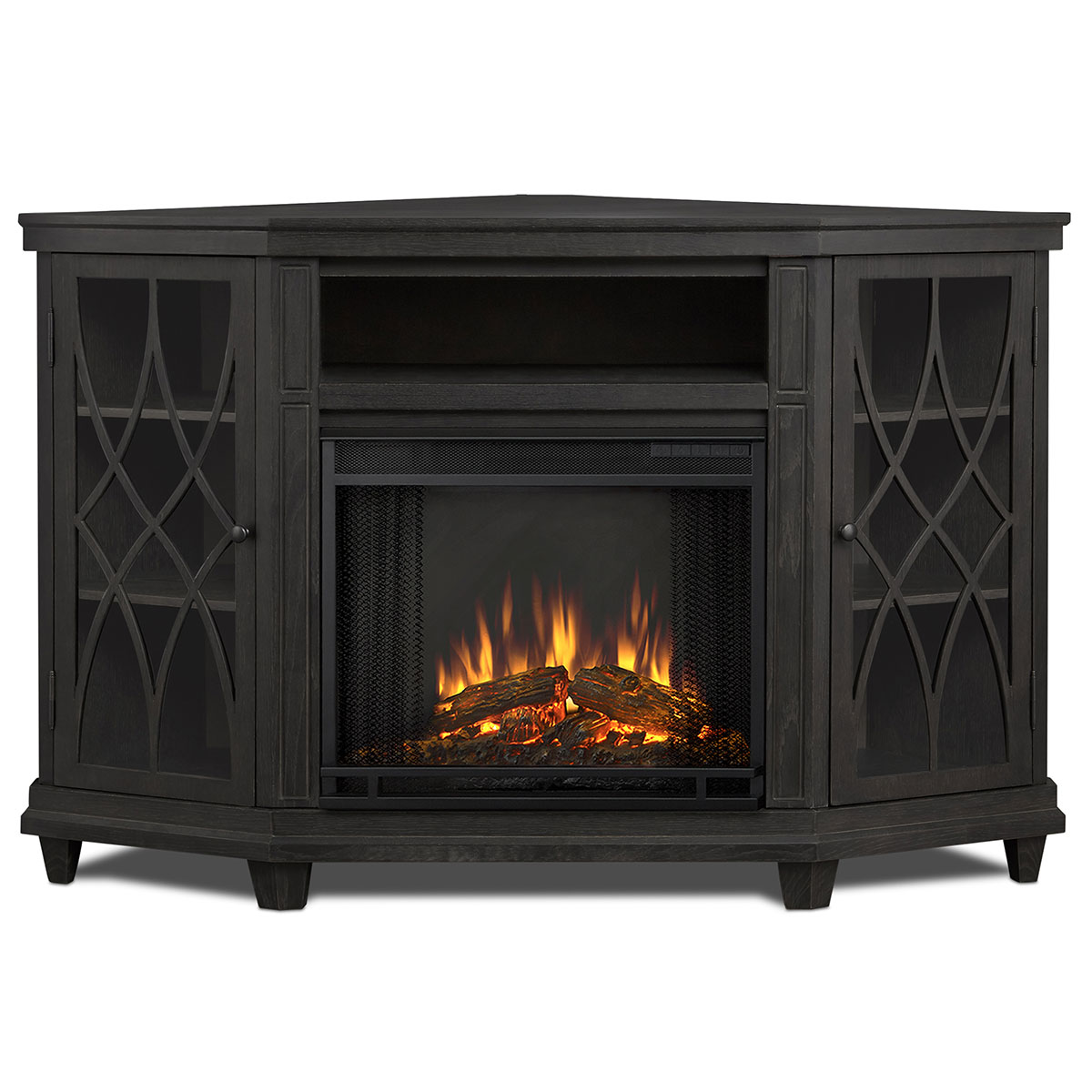 Real Flame 1750E-GRY Lynette Corner Indoor Ventless Electric Fireplace Grey Real-Flame-1750E-GRY