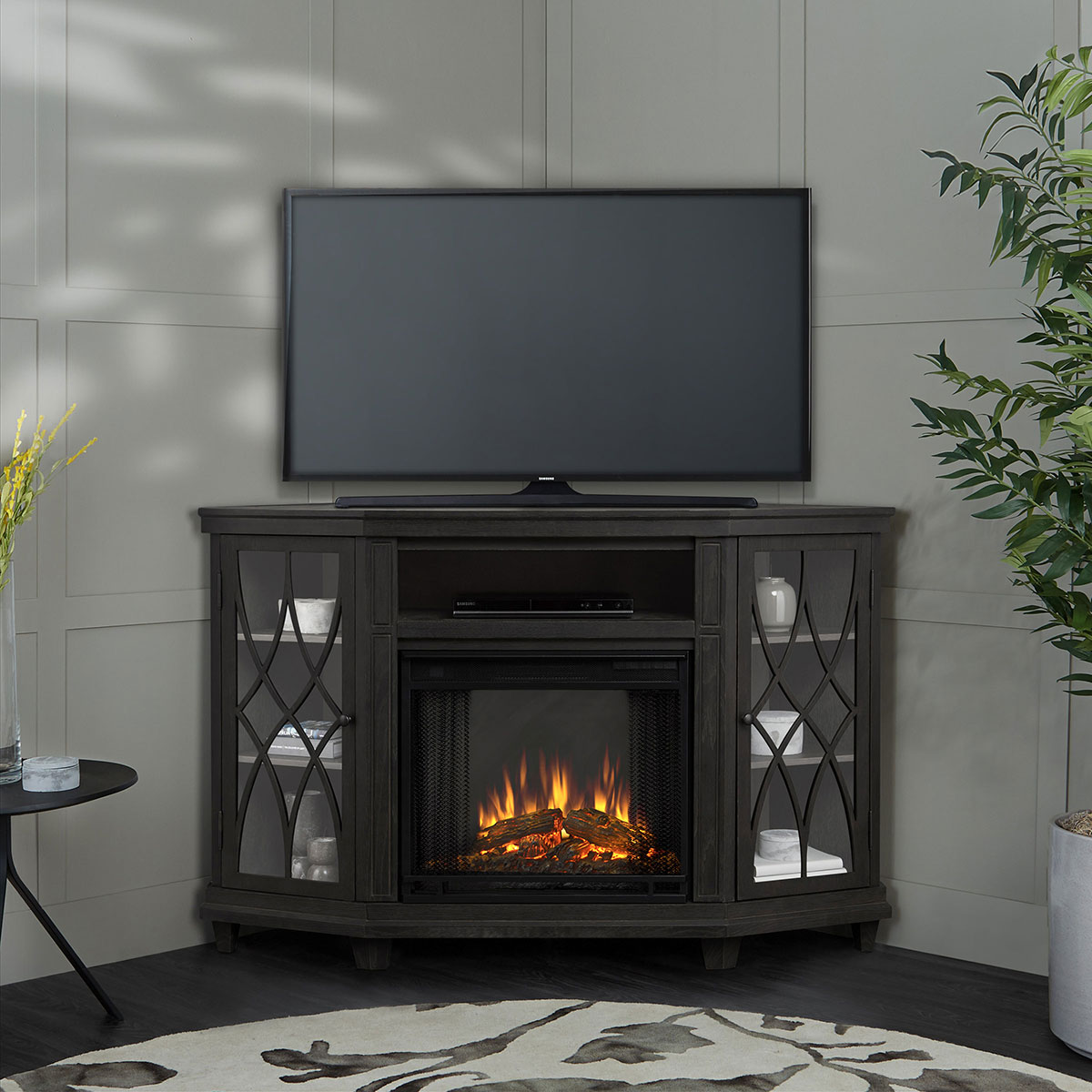 real flame 1750e gry lynette corner indoor ventless electric