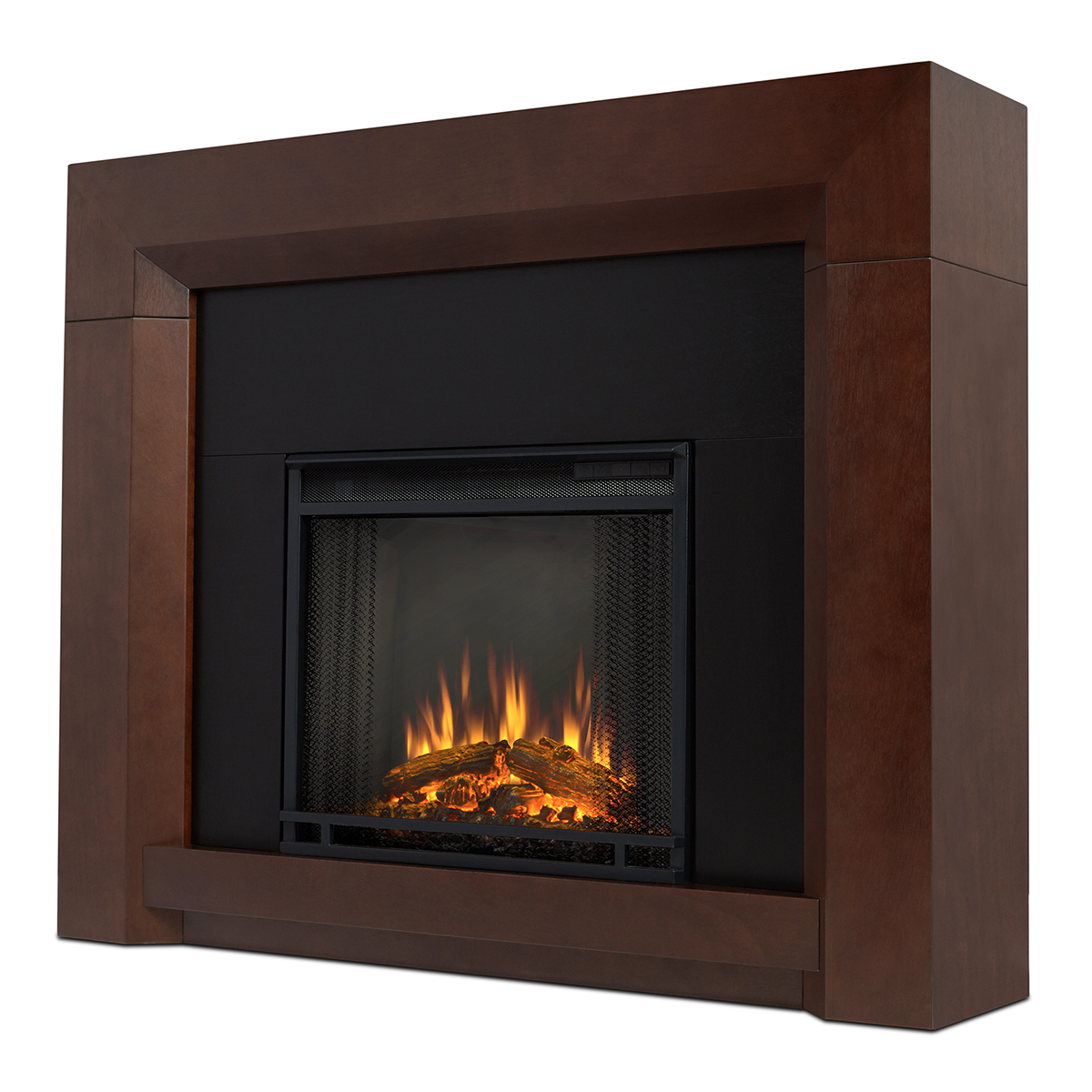 Real Flame 4001e Dw Colton Indoor Ventless Electric Fireplace In Dark Walnut W Black Surround