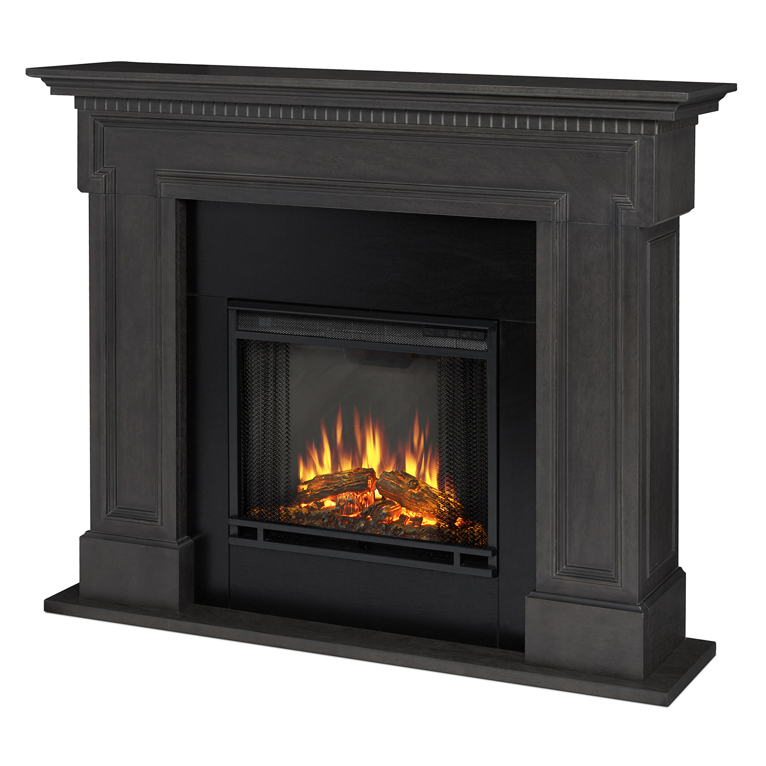 Real Flame 5010e Gry Thayer Indoor Ventless Electric Fireplace In Gray W Black Surround