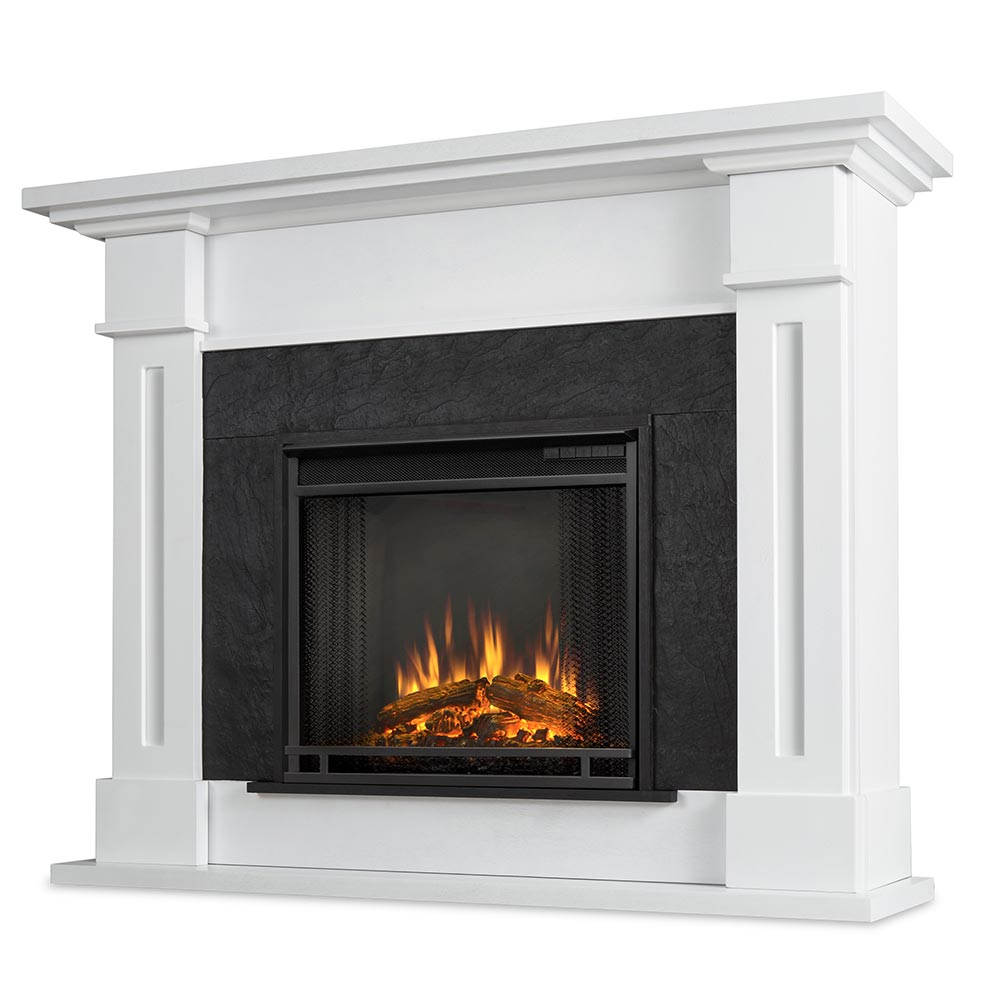 Real Flame 6030e W Kipling Indoor Ventless Electric Fireplace In White Textured Faux Slate