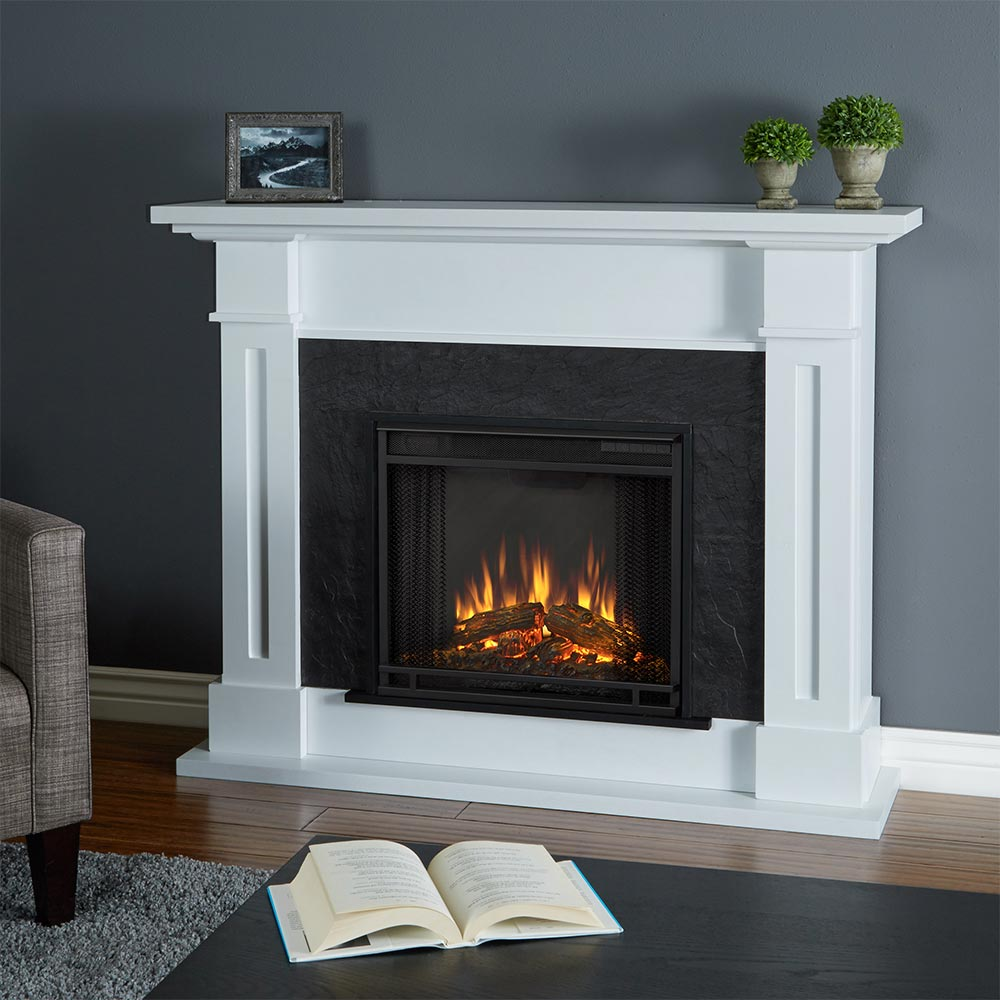 Real Flame Kipling Indoor Ventless Electric Fireplace in White & Textured  Faux Slate - Real Flame 6030E-W Kipling Indoor Ventless Electric Fireplace In